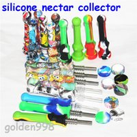 smoking silicone Nectar Collector kit Concentrate smoke Pipe hookahs with 14mm GR2 Titanium Tip Dab Straw Oil Rigs DHL