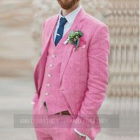 Men's Suits & Blazers 2021 Brand Fashion Linen Men Suit Jacket Vest Pants 3 Pieces Set Slim Fit Pink Beach Party Wedding Man Groom Tuxedo Bl