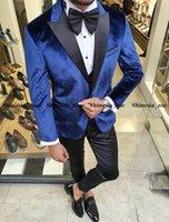 Fashion Royal Blue Velvet Men Suits for Wedding Groom Tuxedos 2 Pieces Set Custom Made Jacket (Jacket+Black Pants)