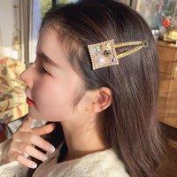 Hair Accessories Small Fragrance Feng Shui Diamond Pearl Flower Digital Side Clip Hairpin Broken Temperament Versatile
