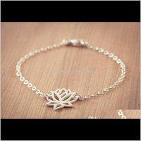 Очаровательные украшения Drop Доставка 2021 30 шт. - B013 Мода Золотой Sier Lotus Tiny Lotos Flower Prom Yoga Petal Bracelets для свадебных подарков DGTNO