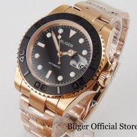 Marque Whole Rose Gold Hommes Watch Automatic NH35 Miyota 8215 Bracelet à huîtres brossé Noir Insert Date Vis d'arrière-montre