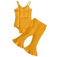 Clothing Sets Bobora Toddler Kids Baby Girl Stripes Bell-Bottom Jumpsuit Romper Overalls Pants Outfits