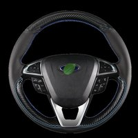 Steering Wheel Covers For Mondeo Focus Escort Kuga Edge Fiesta DIY Hand-stitched Carbon Fiber Leather Car Cover