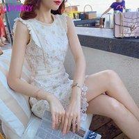 Ldyrwqy 2021 الدانتيل التطريز المرأة الصيف مزاجه جديد سليم جولة الرقبة عالية الخصر الأزياء اللباس مكتب سيدة Y0628