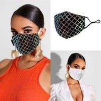 Fashion 2021 Sparkly Plaid Lace Party Mask Fashion Women's Face Decoration Dust Prevention Sunscreen Masks