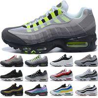 Hombres Mujeres Running Zapatos Triple Negro Blanco Laser Púrpura Aqua Neon Solar Red 95S Hombres para mujer Entrenadores deportivos al aire libre Sneakers Online Venta