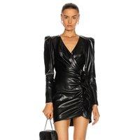 SWTAO Kadınlar Seksi Moda Uzun Kollu V Boyun Siyah Deri Zarif Ünlü Bodycon Parti Elbise Vestido 210416