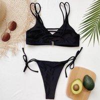 Women's Swimwear 2021 Summer Female Black Sport Split Swimsuit Simple Sexy Bikini With Straps Bathing Suit Beach Wear For Women