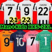 المشجعين لاعب النسخة 2021 2022 يوفنتوس الرابع لكرة القدم جيرسي كرة القدم HRFC قمصان رونالدو دي Ligt Kulusevski 20 21 22 Dybala Juve Men Kids Kit