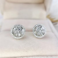 Circle Stud Earring Luxury Jewelry 925 Sterling Silver Full Princess Cut White Topaz CZ Diamond Gemstones Women Wedding Bridal Earring Gift