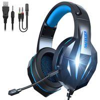 الإبداعية J5 سماعة الألعاب السلكية الرصيفة W / Mic Stereo Deep Bass HiFi الصوت سماعة الصمام LED ضوء للهاتف PC ERXUNG J5