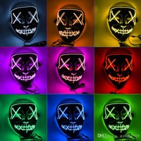 Hot 10 Colors EL Wire Ghost Masks Slit Mouth Light Up Glowing LED Mask Halloween Cosplay Glowing LED Mask Party Masks WCW675