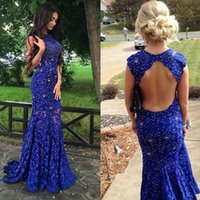 Royal Blue backless Prom Dress Sexy Mermaid Jewel Major Beading Women Wear Special Occasion Dress Party Gown Custom Made Plus Size