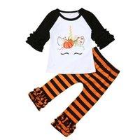 Christmas Halloween Kid Girls 'Set Dibujos animados Unicornio Pumpkin Blusa Blusa Pullover T Shirt y Pantalones de rayas Trajes de Pantalones de 2 piezas Homewear Homewear H914S7IJ
