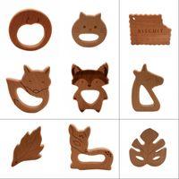 Neue DIY Dschungel Kollektion Holz Beißring Nahrungsmittelgrad Natürliche Buche Schnuller Kette Sicherheit Zertifizierung Woode Baby Spielzeug Für Neugeborenen 1428 Y2