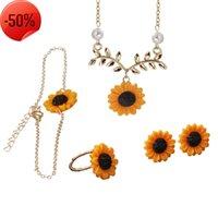 Brincos de colar quatro pedaço moda folha de girassol pingente conjunto lindo flor clavícula cadeia menina