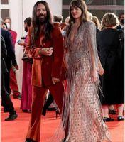 Evening dress Women cloth Tassel Silver Crystals V-Neck Long sleeve A-Line Floor length Yousef aljasmi Kim kardashian Kylie jenner Kendal