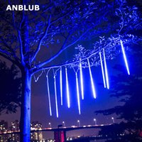 ANBLUB 30cm 50cm 8 Tubes Waterproof Meteor Shower Rain LED String Lights Outdoor Christmas Decoration for Home Tree EU US Plug 210419