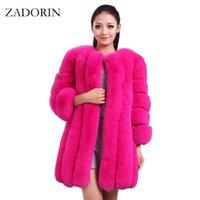 Zadorína S-4XL Winter Winter Faux Foux abrigo de piel delgado Largo Rosa Rojo Azul Faux Piel Chaqueta Mujeres Fake Abrigos Manteau Fourure