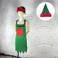 Yeni Önlük Şapka Seti Yetişkin Kostüm Noel Partisi Fantezi Elbise Kıyafetleri Noel Dekorasyon Lla8937