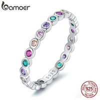925 Sterling Silver Colorful Rainbow Zircon Finger Ring for Women Trendy Fashion CZ Stone Anillos Jewelry Gift 210512