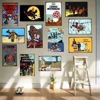 Tintin الكرتون الفيلم القصدير تسجيل لوحة معدنية الحديد اللوحة الاطفال غرفة الجدار بار القهوة المنزل الفن الحرفية ديكور