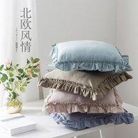 Yastık / Dekoratif Yastık Pembe / Kahve / Bej / Mavi Yıkanmış Pamuklu Kumaş Lotus Fill Yastık Kapak Kanepe Ruffled Dantel Atmak Yastık Lomber Lomber