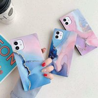 Gradient Marble Texture Phone Case for iPhone 12 Mini 11 Pro Max XR X XS Max 7 8 SE 2020 Shockproof Square Straight Edge Cover