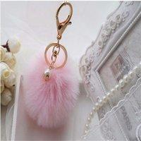 Chaveiro fofo de Pompon Bola de pele de coelho para as mulheres bonito Pom Pom Pearl Chaveiro no saco de carro de trinket feminino jóias presentes festa de casamento 627 Z2