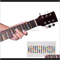 Guitar Fretboard Note Mappa Etichette Adesivo Autoadesivo Fret Decalcomanie per 6 corde Acoustic Electric Guitarra NY049 Itoen Giochi all'aperto AC Elsid