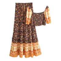 Kleid frauen sommer floral druck röcke zwei stück elastische walst maxi rock + halbe hülse quadratische neck sexy plissiert kurze crop top ho