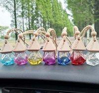 quality colorful pink blue emptyl Car Perfume Bottle Pendant Essential Oil Diffuser Clothes Ornaments Air Freshener Pendants Empty Glass Bottle