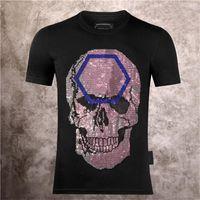 2021 최신 남성 및 여자 디자이너 티셔츠 패션 캐주얼 핫 다이아몬드 공정 해골 하이 엔드 인쇄 라운드 넥 풀오버 짧은 소매 P0202