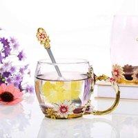 DecDeal Fleur Tasse Tasse à thé Enamel Craft Verre Cafe Boisson Gratuite avec cuillère Nettoyage Cadeaux Cadeaux Cadeaux Cadeaux Pour Femmes Fille Tasses