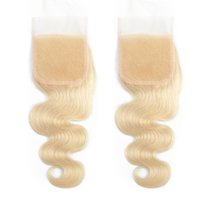 Brazilian Virgin Human Body wave Hair Free Part 613 Lace Closure Blonde Bleached Knots 4x4Remy Accessions Pre Plucked Brazlian