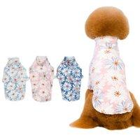 الكلب الملابس المرجانية المخملية الحيوانات الأليفة تي شيرت الملابس زهرة مطبوعة مزيج اللون جرو الملحقات الملابس ذوي الياقات البيضاء عالية القبعين قميص