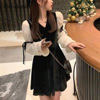 Casual Dresses High Quality Korean Women Vintage Mini Dress 2021 Spring Fashion Lace Bow Velvet Evening Party Female Kawaii