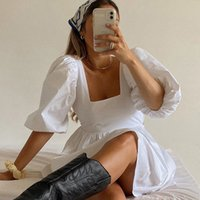 Allukasa Белый платье Платья Рукав Принцесса Рукава Одна Шея Сексуальная Открыть Свободное Белое Свободное платье
