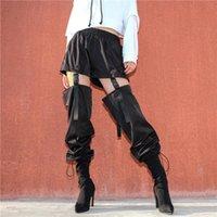 Mulheres Casual Harem Calças Plus Size Black Sweatpants Carga Elástica Cintura Elástica Calças Senhoras Lápis Capris das Mulheres