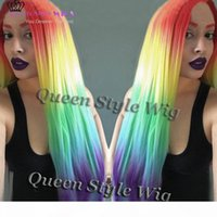 Bysdell Fashion Beauty Largo Largo Color Color Color Color Color Ombre Rainbow Mermaid Cosplay Peluca Pelucas delanteras de encaje sintético 360 Peluca de encaje completo