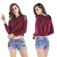여성의 후드 스웨터 YMWMHU 패션 작물 여성용 긴 소매 중공 운동 셔츠 얇은 캐주얼 숙녀 후드 가린 한국 의류