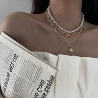 Chains Fashion Kpop Pearl Choker Necklace Cute Double Layer Gold Chain Pendant For Women Girl Baroque Jewelry Party Gift