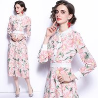 Ladies Dress Long Sleeve High End Printed Lapel Spring Autumn Midi Dress Temperament Elegant Womens Printed Dresses Hot New Dresses