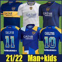 Camiseta do Boca Juniors Jerseys de fútbol 2021 2022 Cristian Pavon Tevez Carlitos Maradona Jersey de Fútbol de Rossi Almendra Salvio ABILA Uniformes CABJ KID KIT 21/22