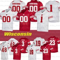 مخصص Wisconsin College Football Jerseys # 4 AJ Taylor # 17 Jack Coan # 23 Jonathan # 81 Troy Fumagalli