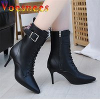 Voesnees Nakle Boots Women Stiletto Lace-up Martin Pointed Toe High Heels Buckle Side Zipper Plus Size Female Shoes 210516