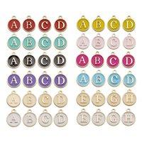 매력 26pcs A-Z 편지 팔찌 오일 더블 페이스 에나멜 알파벳 초기 합금 펜던트 귀걸이 목걸이 키 체인 선물