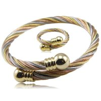 Oorbellen Ketting Mode Punk Vrouwen Mannen Stijl Twisted Color Rose Gold 316L Roestvrijstalen Kabel Draad Armband + Ring Sieraden