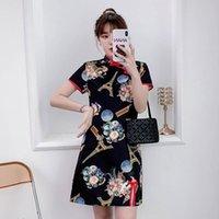 Vestido de verano Retro estilo chino impresión mejorada grande tamaño graso cheongsam show fino elegante mujer de manga corta ropa étnica